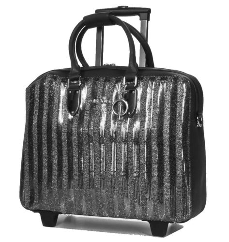 Business Damen Umhänge Aktentasche Laptoptasche Rollen Trolley Schwarz Bowatex