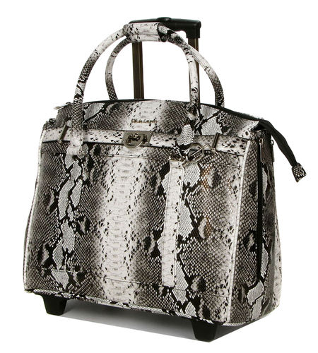 Luxus Damen Akten Laptoptasche 2 Rollen Trolley Weiss Bunt Olivia Lauren-Bowatex